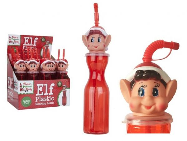450ML Official Elves Behaving Badly Clear Red Elf Head Christmas Bottle With Straw